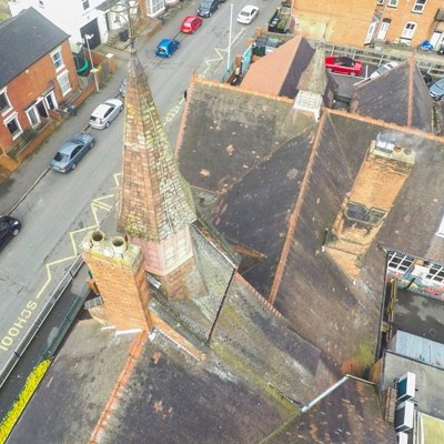 Drone view of a roof survey