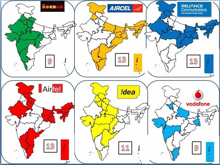 3G network map india