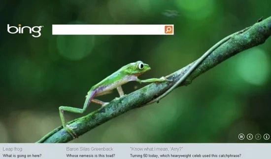 Bing unveild HTML5 animated search Homepage