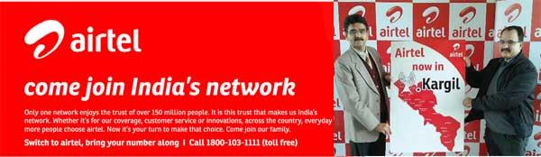 Airtel Starts telecom Service in one of toughest terrains in India, Kargil