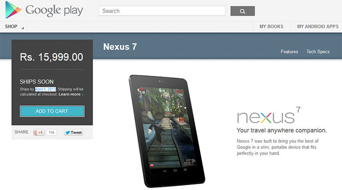 Google Play starts Selling Nexus 7 in India for Rs 15,999