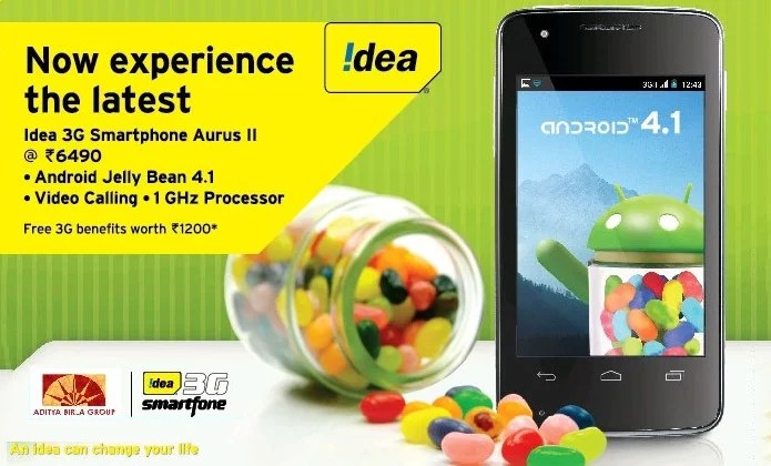 Idea Cellular unveils 'Aurus II' with 1GHz CPU, 3G and Android Jelly Bean 4.1