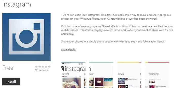 Instagram now available for Windows Phone