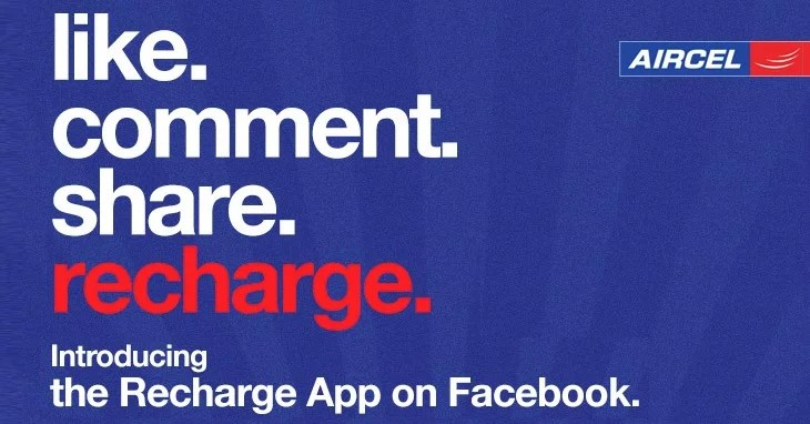 Aircel brings in Mobile Instant Recharge App to Facebook