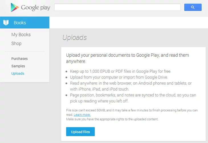 Google Play Books updated to support your own eBooks upload