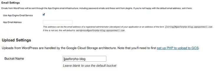 Google App Engine Plugin for WordPress settings