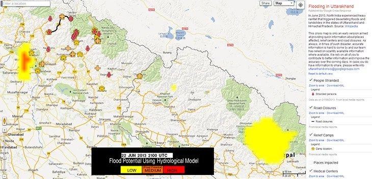 Google opens Crisis Map to help Relief efforts in Uttarakhand Flood