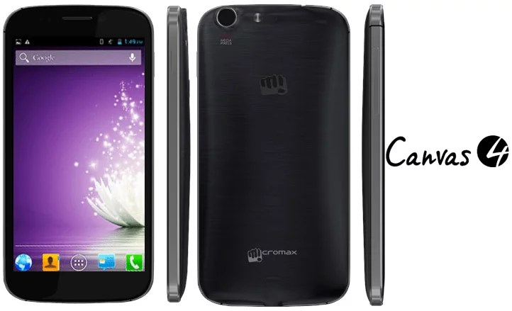 Micromax Canvas 4 gets Blown - 5inch HD display, 1.2 GHz Quad-Core CPU, 13MP Camera for Rs 17,999