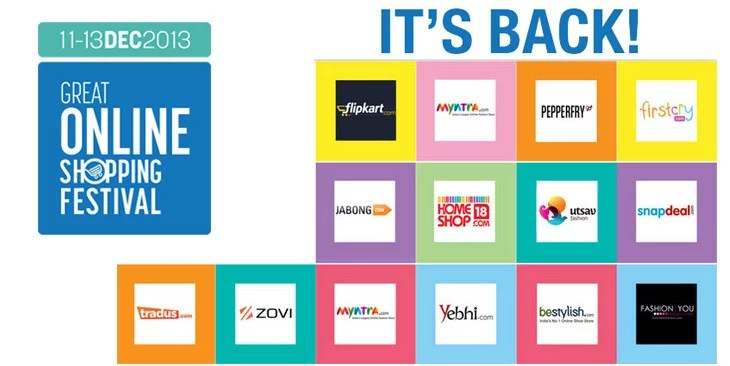Get Ready for Great Online Shopping Festival 2013 by Google India on 11th, 12th & 13th December 2013