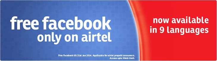 Airtel offering Free Facebook access in Nine Regional Languages with 30mb limit