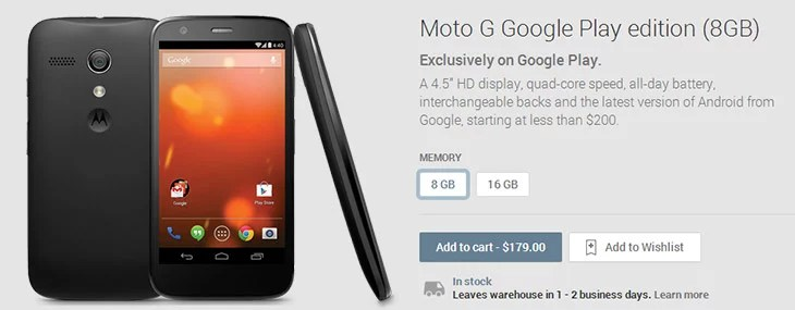 Moto G lands up on Play Store as Google Play Edition Moto G