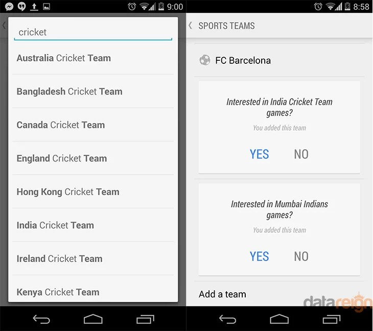 Google Now adds support for Cricket Notification - Add up your International and IPL teams