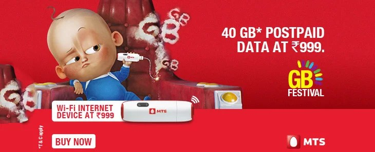 MTS India GB Festival - Gives 40 GB Data for Rs 999 & other