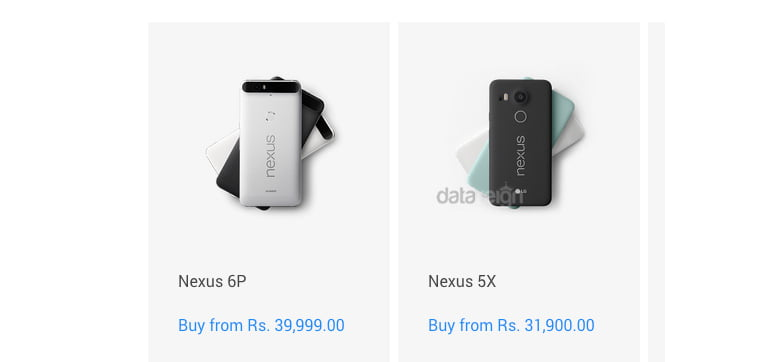 Nexus 5X Pricing starts at Rs 31,900 and Nexus 6P priced from Rs 39,990 (Google India Store)