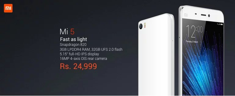 Xiaomi Mi 5 launched in India at Rs 24,999 for 32GB variant