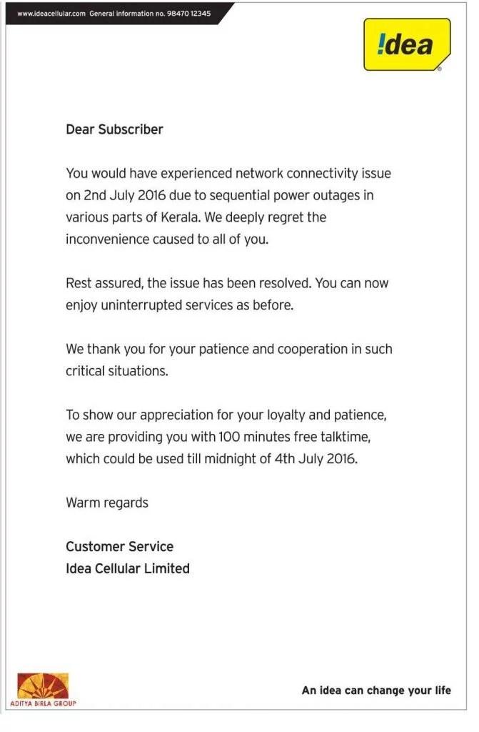 Idea Cellular Kerala network down