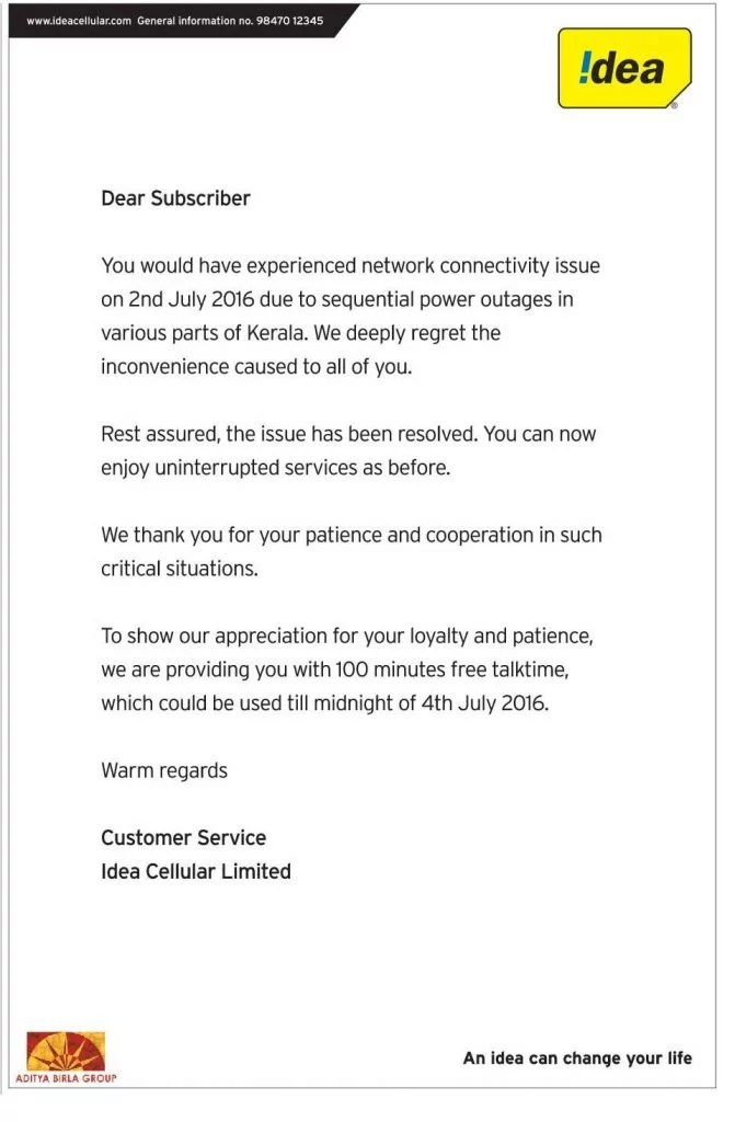 Idea Cellular Kerala network down