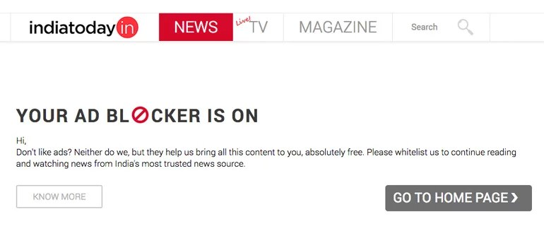 Indian News Publishers websites block users with Ad Blocker