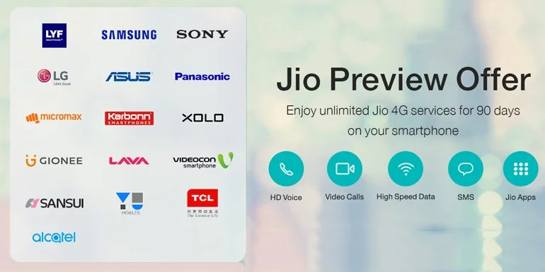 Sony, Videocon, and Sansui 4G smartphones get Reliance Jio Preview Offer