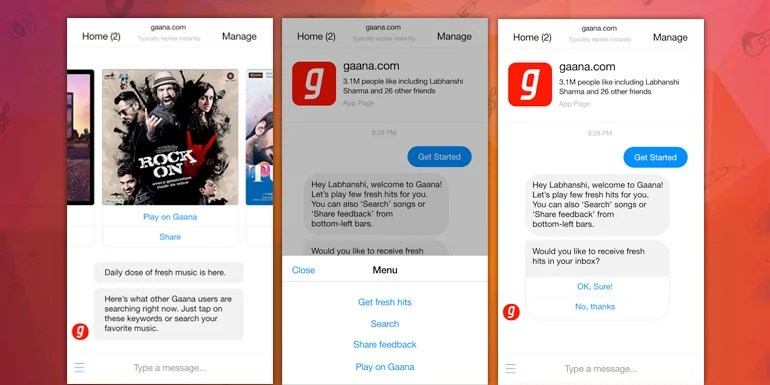 Now chat for Music with Gaana Facebook Messenger Music