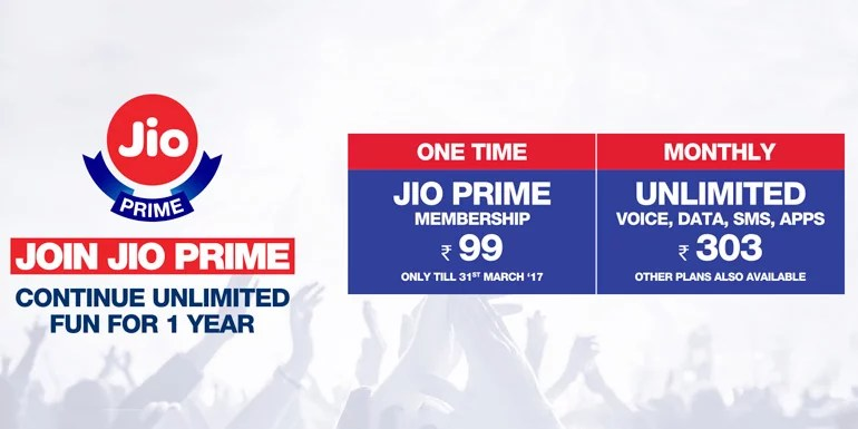 Jio Prime Tariff Plans - Triple Data on all Plans