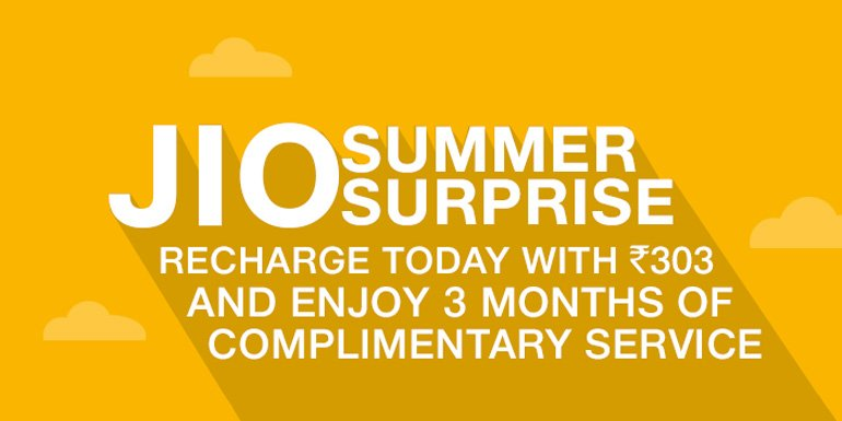 Jio Summer Surprise - extend Jio free services to 3 more Months