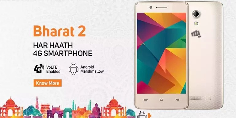 Micromax Bharat 2 unveiled with 4G VoLTE, Quad-core processor