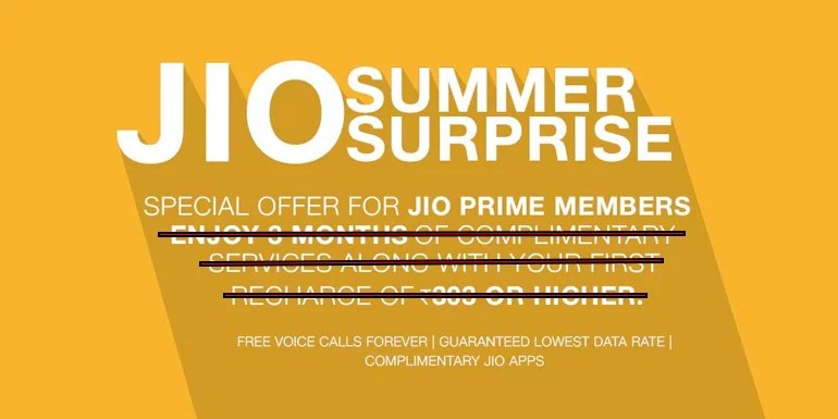 Reliance Jio withdraws 3-month complimentary benefits under Jio Summer Surprise