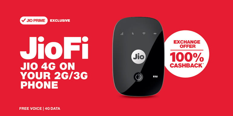 Reliance Jio now offers 100% Cashback on exchanging Old Dongle for JioFi 4G Hotspot