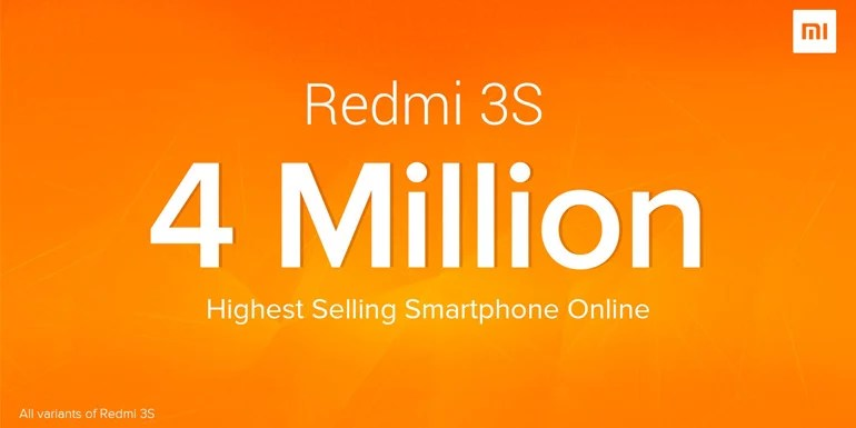 Xiaomi India sold 4 million Redmi 3s in nine months