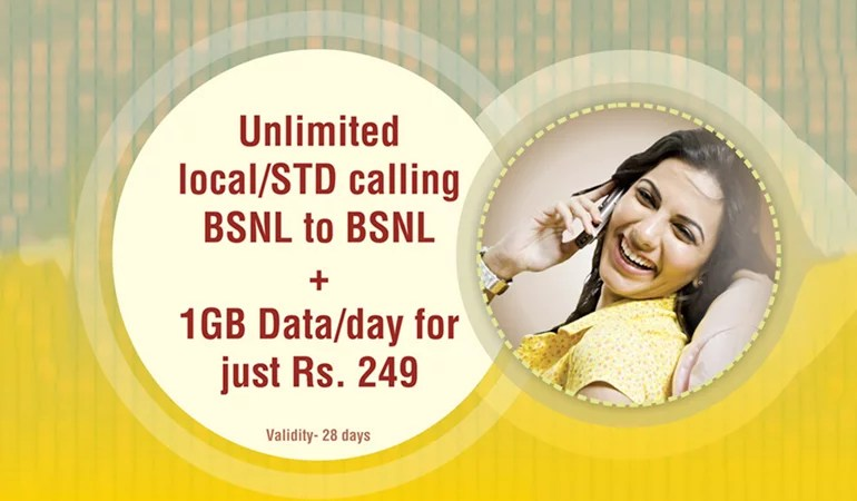 BSNL launches new 249 STV - Unlimited On-Net Calls and 1GB Data per Day
