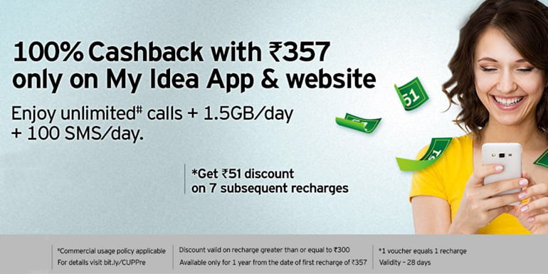 Idea Offers 100% Cashback On Recharges With My Idea App And Website