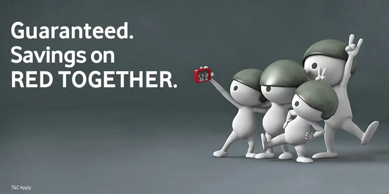 Bring together with Vodafone RED Together - Savings on Rental and Extra Benefits