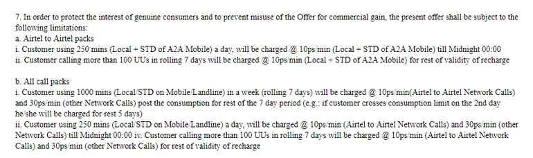 Airtel Unlimited Voice calls previous Terms and Condition
