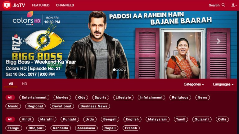 Reliance JioTV Web Version goes live, 550+ Live TV Channels