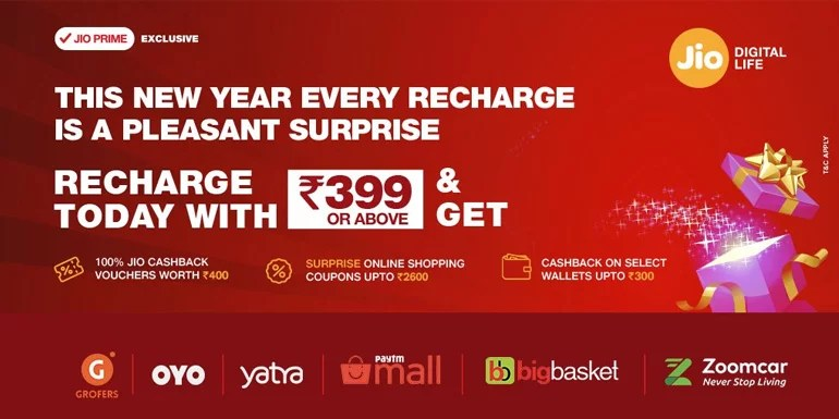 Reliance Jio back with Surprise Cashback offer - Get up to Rs 3300 cashback on every Recharge