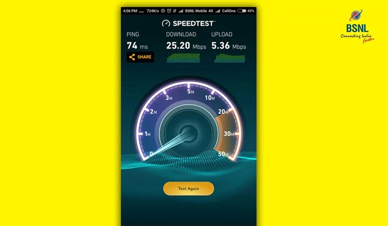 BSNL 4G speed test result from Idukki Kerala