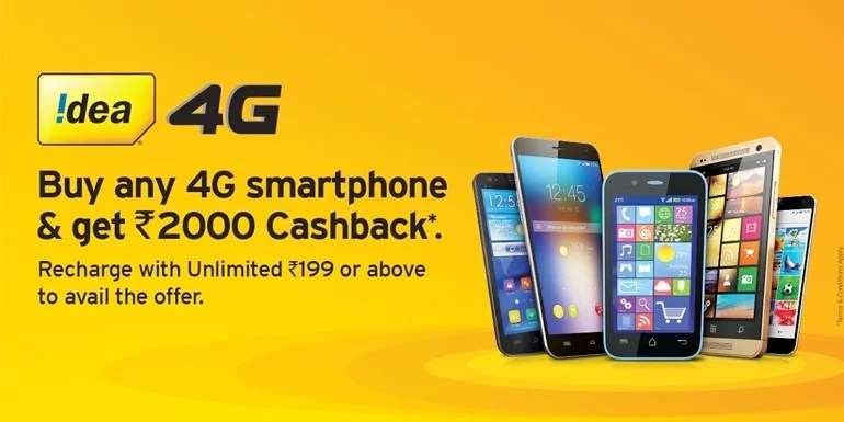 Idea 4G smartphone Cashback offer on any mobile brands 4G device purchase