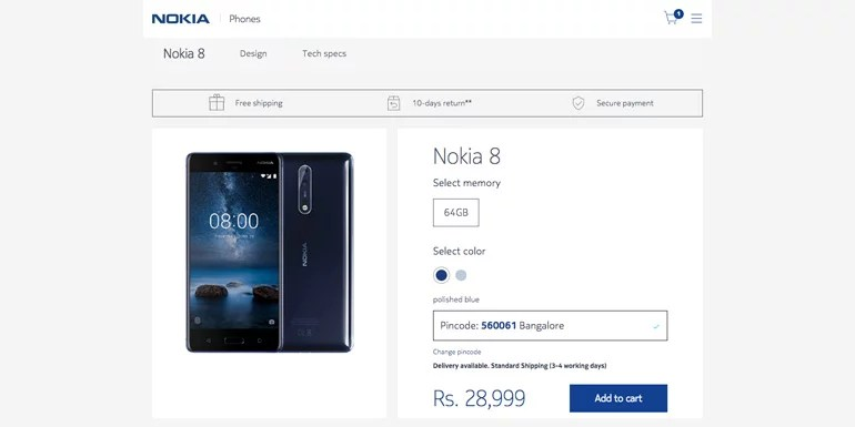 Nokia starts selling Mobiles and Accessories through its official online store in India