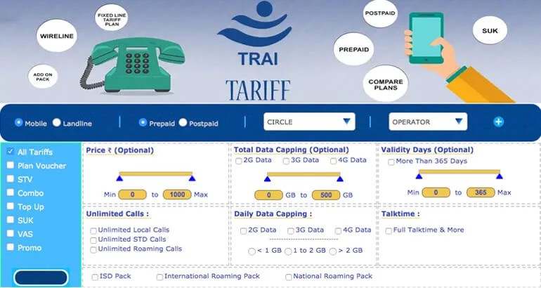 TRAI Mobile and landline tariff portal