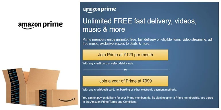Amazon Prime Membership at Rs 129 per Month
