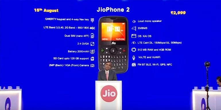 JioPhone 2 from Reliance Jio