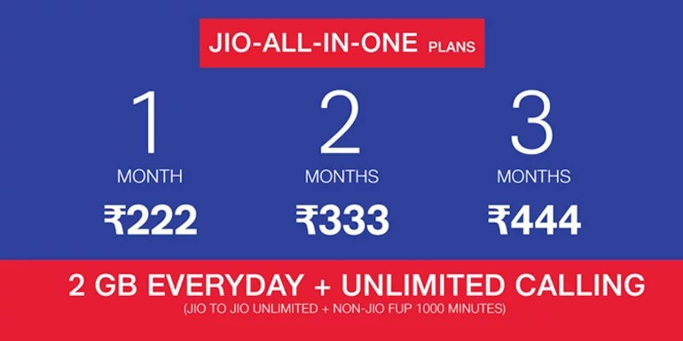 Reliance Jio All-in-One prepaid mobile Plan