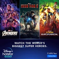 Watch the world's biggest superheroes, TV Shows, Originals, Cricket (IPL) and Live Football only on Disney+ Hotstar. Subscription starts as low as Rs 399 per year.