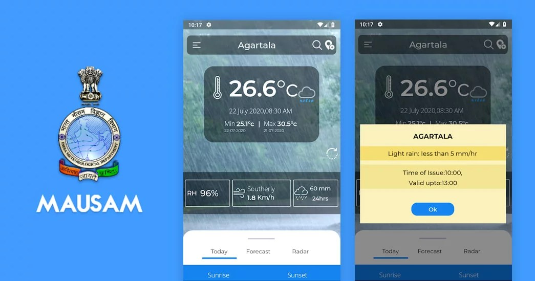 Mausam mobile app from Ministry of Earth Sciences for Weather Forecasts