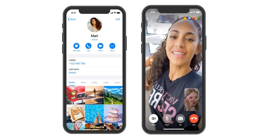 Telegram one-to-one secure Video Calls