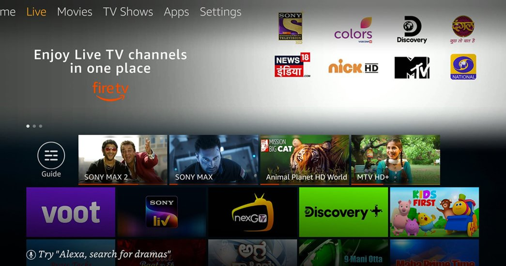 Live TV feature on Amazon Fire TV devices in India