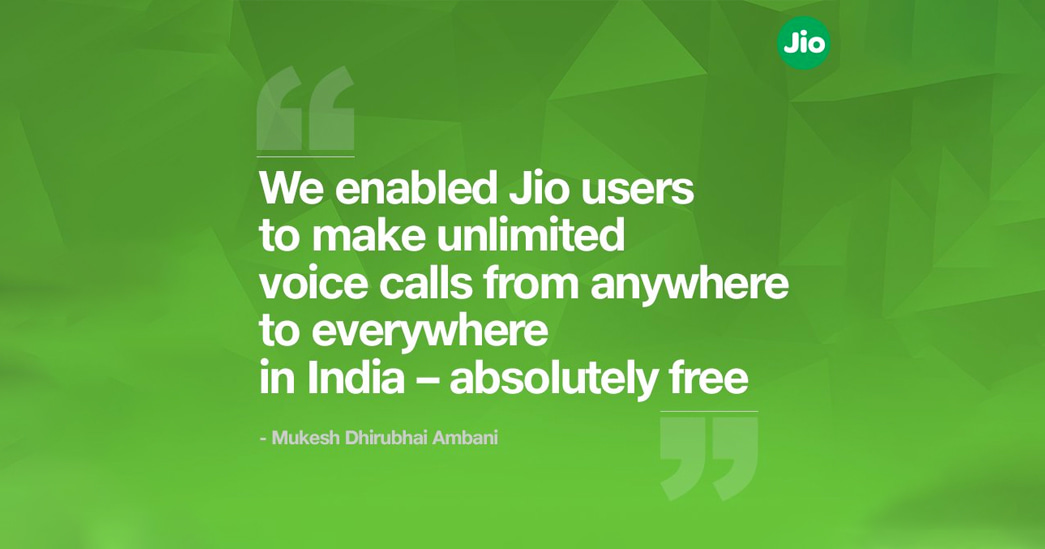 Jio free unlimited voice calls to any networks