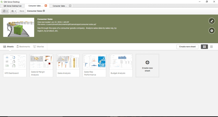 Qlik sense tutorial screen sheet