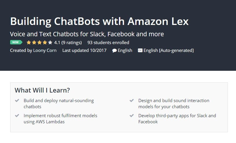 Building ChatBots with Amazon Lex Udemy post image